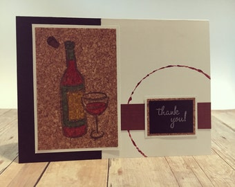 Handmade Wine Themed Thank You Greeting Card