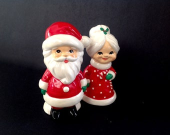 Vintage ADORABLE Santa and Mrs. Claus Figurines - Marked Handmade in Korea by MY