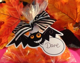 TRICK OR TREAT Halloween Treat Gift Tags Bats