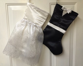 Bride and groom Christmas stockings for the Mr. And Mrs.