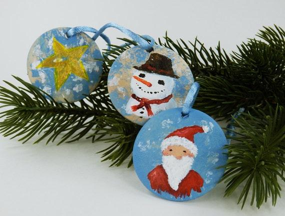 Black Christmas Christmas Tree decoration set 3 piece in blue decoration hand painted Dekoanhänger snowman Santa Claus Star