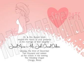 Wedding Invitation, Save The Date,Butterflies Invitation