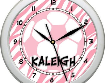 "Girl's Soccer Inspired 10"" Personalized Wall Clock Boy's Room Decor High School College gift Booster Club"