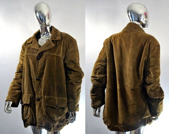 Westerfield Corduroy Jacket | Vintage Brown Coat. Warm Heavy Winter Coat! Size 46 Chest Cord With Faux Fur Lining Hunting Western XXL, XL 48