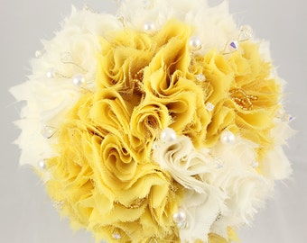Fabric Bridal Wedding Bouquet in Cream and Yellow with Freshwater Pearls and Czech Crystals DEPOSIT UK handmade