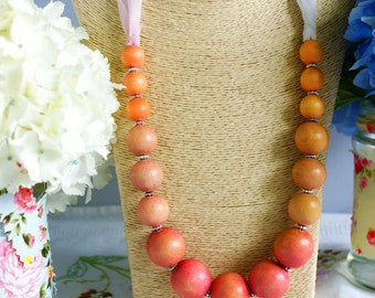 Necklace, vintage necklace, wooden bead necklace, 1950's necklace, pink ribbon necklace