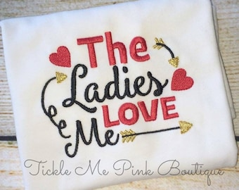 Boy's Valentine Shirt - The Ladies Love Me Shirt - Boys Embroidered Shirt - Boys Embroidered Valentine Shirt - Love Day - Ladies Man Shirt