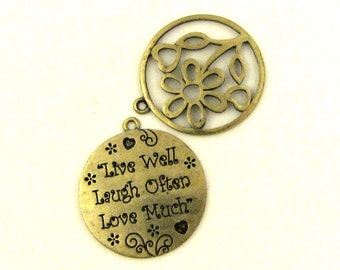 Live Well Love Often Laugh Much Pendant / Live Love Laugh Pendant / Inspirational Pendant / Flower Pendant
