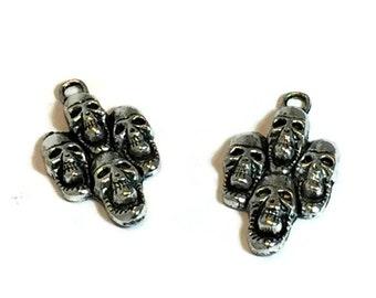 Multi-Skull Charms / Antique Silver Skulls / Silver Skull Charms / Silver Skull Pendants / Set of TWO Skull Charms / Gothic Charms / Gothic