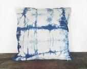 shibori pillow, pillow cover 20x20, toss pillow, decorative pillow, indigo, boho pillow, bohemian pillow, indigo shibori, hand dyed, modern