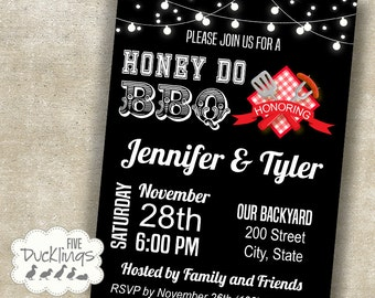 Honey Do BBQ Invitation, Engagement Party, Printable Digital invite, black background design, A131