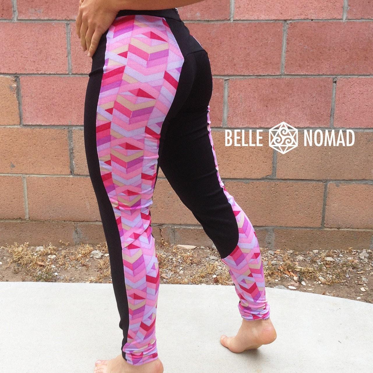 LEGGINGS YOGA PANTS Pink Chevron & Plain Black By
