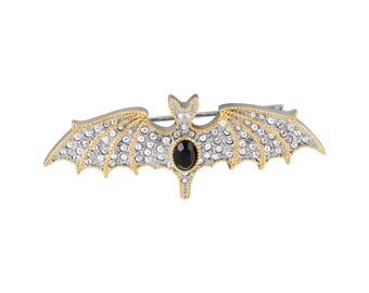 Crystal Bat Brooch Rhodium Plated
