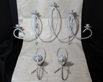 Vintage Metal Candle Sconce Set, Twisted Wire Candle Sconce, Shabby White Distressed, 7 Taper Candles