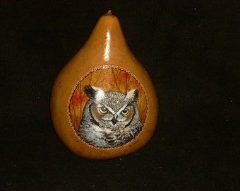 Hand Painted Gourd- Great Horned Owl Totem