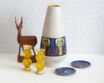 Dümler & Breiden fat lava vase 135-25  | West German pottery bright colors
