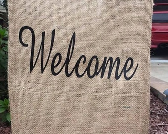 Burlap Welcome Flag