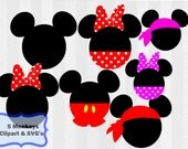 Mickey head svg, Minnie Mouse SVG, svg cutting file, use as clipart,Silhouette Cameo,cricut, vinyl, Mickey head, minnie head, pirate mickey