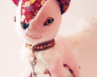 SakuraCat - Cute Cherry Blossom Themed Plushie - Original Handmade Cat Plush - Pink GemCat (made to order)