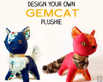 CUSTOM GemCat Plushie - Design Your Own Plush - Choose Your Own Colors and Fabrics - Handmade Personalized Cat Plush (made to order)