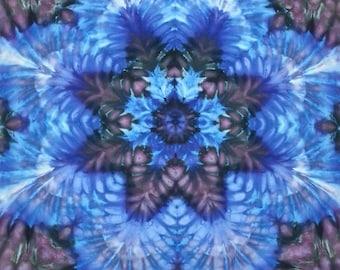 mandala tie dye tapestry wall hanging blue black