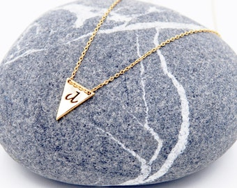 Triangle initial necklace( letter a-z)