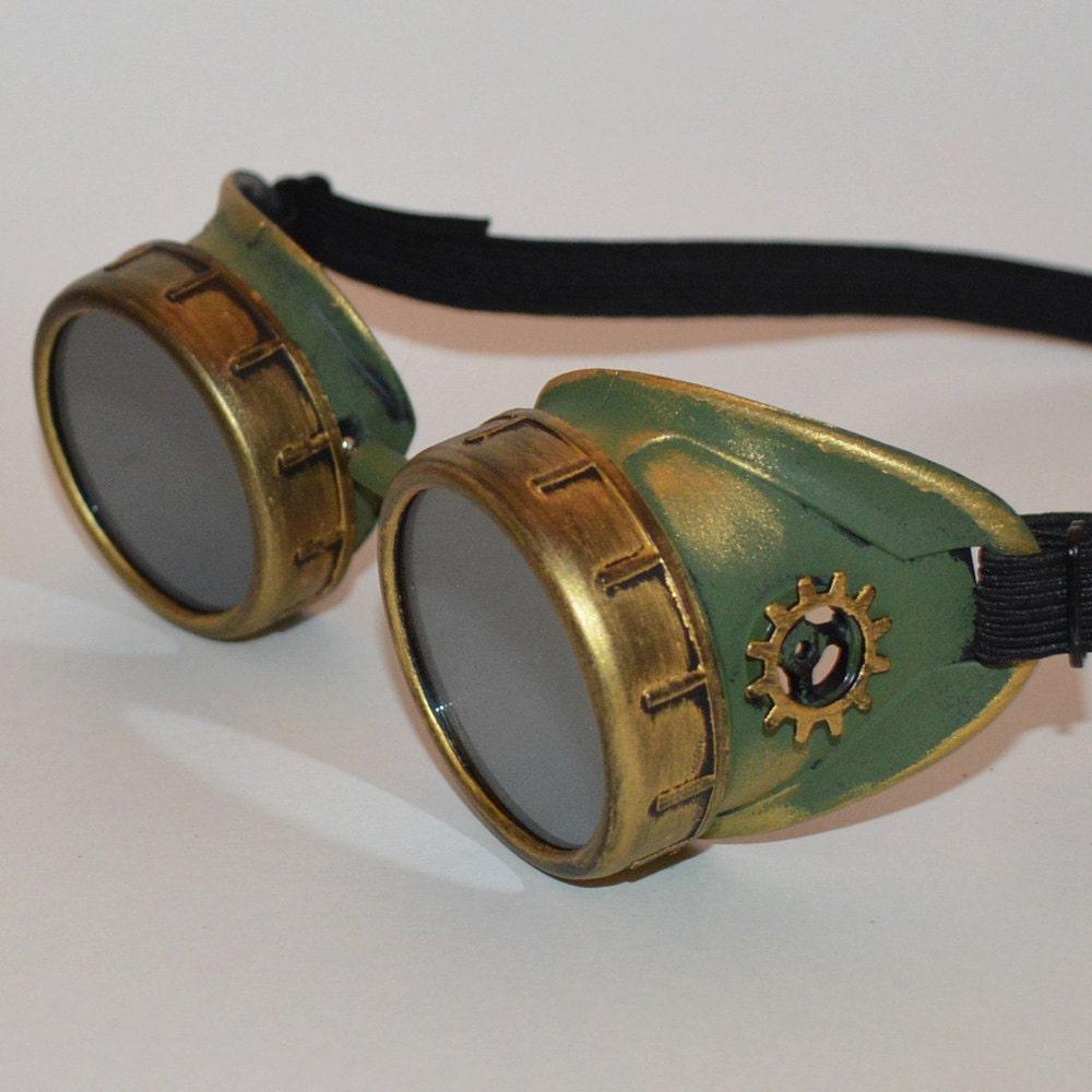 Steampunk Goggles Green Steampunk Goggles Victorian Goggles