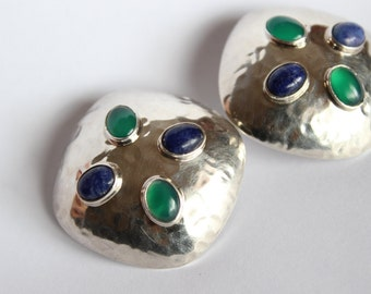 Stones and hammered silver clip earrings