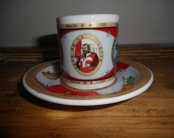 Espresso Cup and saucer decorated ceramic Souvenirs-Malta