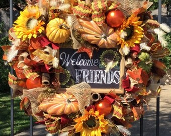 Fall Deco Mesh Wreath, Front Door Wreaths, Mesh Wreath, Fall Wreaths for Front Door, Thanksgiving Wreath, Holiday Wreaths, Mesh Wreaths
