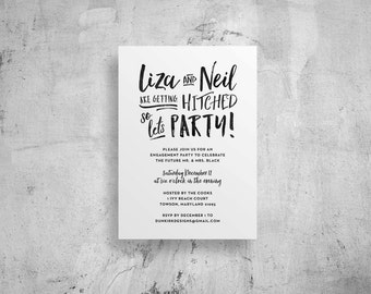 engagement party invitations // engagement party invites // brush lettering // modern invites // printable // custom