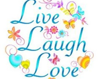 Live, Laugh, love. Spring colours cross stitch pattern