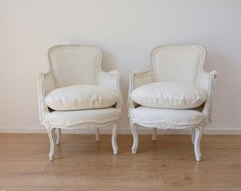 French Bergere Armchairs in Ivory Linen - 2 available