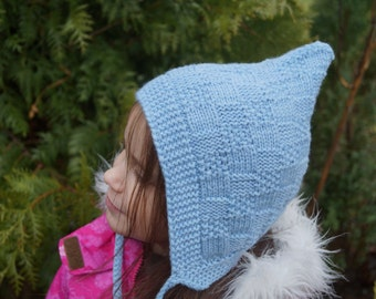 Handmade knitted Baby Pixie Hat. Toddler hat. Knitted Hat.  Pixie Bonnet. Elf hat. Children's Hat. Knit pixie hat. Blue hat. Merino hat.