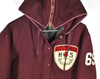 1969 VTG Post Varsity Letterman 100% Wool Hooded Jacket