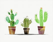 Unique cactus watercolor related items Etsy