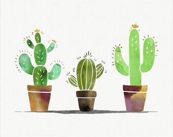Cactus Watercolor, Desert Art, Watercolor Printable, Instant Download