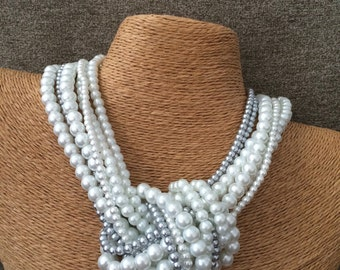 Chunky pearl necklace, knotted pearl necklace, white pearl bridesmaids necklace, pearl necklace, gray pearl necklace, statement necklace,