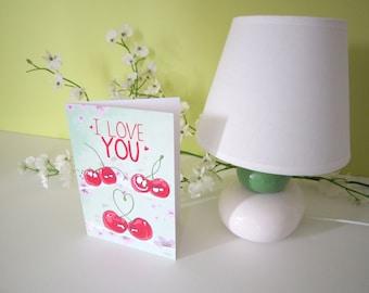 Greeting Card cherries I love you, Valentine's day, Love declaration, wedding