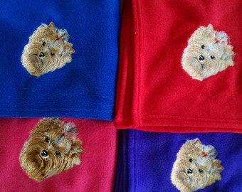Embroidered Yorkshire Terrier (Yorkie) Fleece Blanket