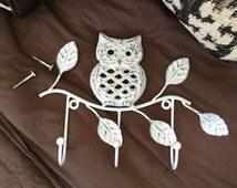 Cast Iron Owl Hook, Towel Holder Key Holder Wall Hook, Great Owls Home Decor Decorative Hooks, Item 384563618