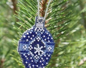 Blue Snow Ornament