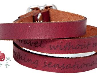 Leather Wrap Bracelet -- Oscar Wilde Quote