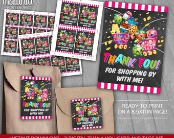 Shopkins Thank You Card and Tags Printable, Birthday Printables - INSTANT DOWNLOAD - Shopkins Birthday Party Cards Notes Thanks