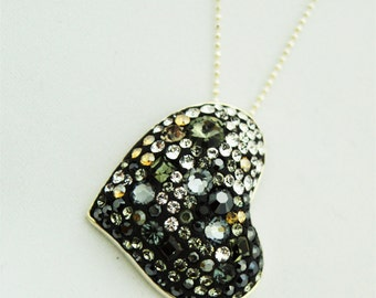 "Necklace handmade ""Silver Heart"" with Swarovski crystals"