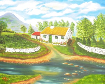 Original oil painting of white o' morn cottage ( The quiet Man)
