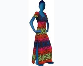 Psychedelic dress 'Rainbow Fractal'. Full length dress, UV active, trippy dress, trance wear, evening wear, long dress, rave festival dress.