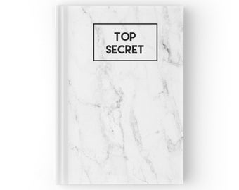 Marble Journal Notebook | Top Secret Quote Journal | Hard Cover Journal | Hard Back Notebook | Personalized Journal | Personalized Gift