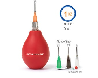 1oz Bulb Precision Tip Applicator Set, Xiem Precision Applicators, Pottery Slip-Trailing Tools, Clay Fine Line Writing, Ceramic Detailing