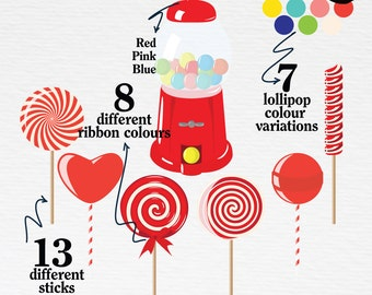 DIY Lollipop Clipart. Candy Clipart. Candyland Clipart. PNG + Vector. Personal and Commercial Use. Instant download.